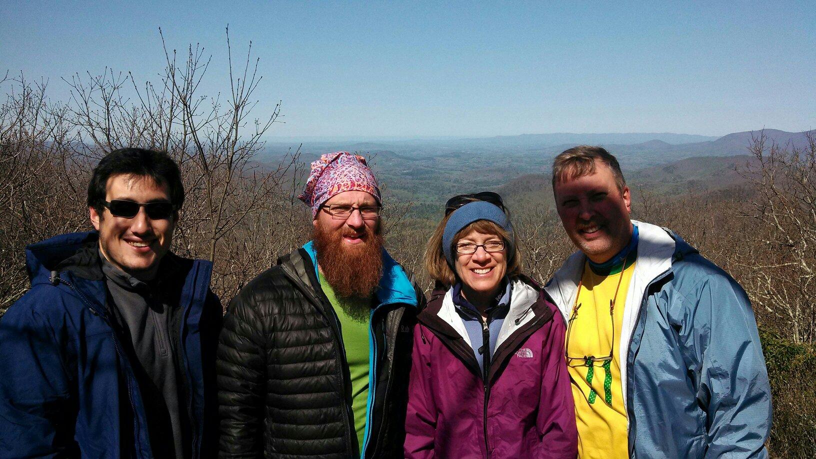 Josh, Ryan, Sue & Jeff at the Appalchian Trail starting point in Springer Mountain Georgia